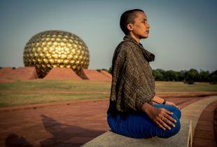 Auroville: Kanika Meditating At The Matrimandir