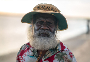 Sid Bruce Shortjoe, Elder, Artist and President of the Pormpuraaw Art and Culture Centre