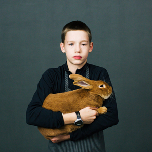 Calvin Dow (13) from Orting, Washington with his bunny.