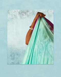 Forearm and Turquoise Sari