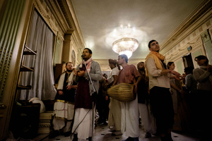 Kirtaniyas who perform at the festival itself, also take turns leading Kirtans in the temple room.