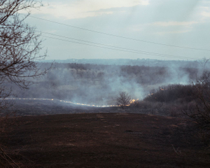 Fire, ATO zone (war zone), Ukraine, March 2015.