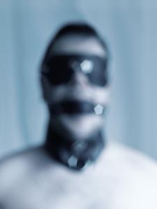 leather collar, gag, mask