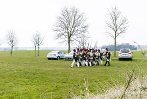 Waterloo 200 is coming. Re-enactors excerice marching
