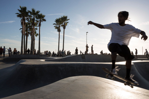 Venice beach Boardwalk, skaters.