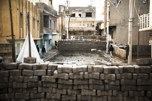 Barricades and trenches in Kurdish-dominated city of Nusaybin in southeast Turkey, near the Syrian border. Heavy gunfights took place during several curfews between Turkish government special forces and Kurdish YPS guerilla fighters.