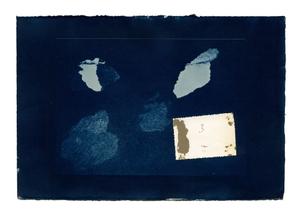 Hidden Memory 11. Cyanotype + collage. 40 x 50 cm