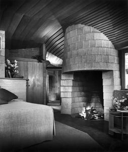 "Master bedroom, David Wright residence, Phoenix, Arizona, c. 1955. From the photobook ""Modern Photography and the American Dream"" © Maynard Parker"