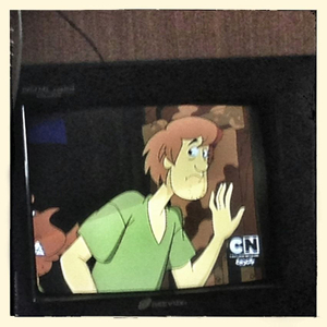 """Close up detail of a television playing cartoon """"Scooby Doo""""in the family home of Rahma*"""