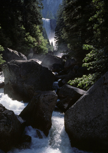 Vernal falls and the merced large boulders in fore