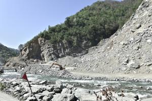 Big quarry on the bank of the Kapisre  river a few kilometers away from Arhavi.
