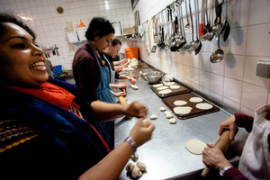Radhadesh is famed for the quality of  its communal kitchen. During the festival, this kitchen produces three meals a day for almost 1500 people, all free of charge