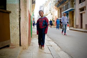Boy dress as Spider Man in Havana Cuba