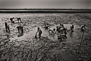 Young children look for small fish in the mud. Vamia, Satkhira. © Munem Wasif/VU'