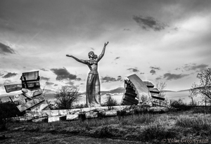Armenia – Azerbaijan border: This statue of Arevik used to welcome people entering Armenia; today it's under gunfire, between Armenian and Azeri military positions.