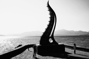 Cretan sculptures at the edge of the Cretan Sea