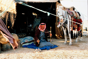 der letzte Beduine vor seinem Zelt