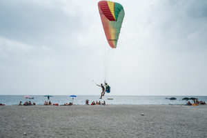 Tandem paragliding.