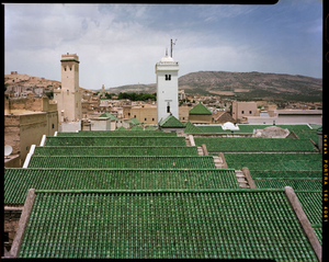 Roof and minaret of Qarawiyin Mosque in Fez, Morocco.