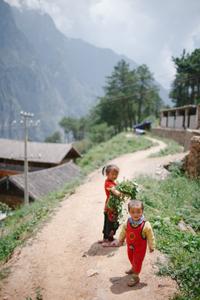 Kids on trail. China