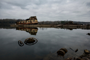 sunk ships in the Chernobyl river port.