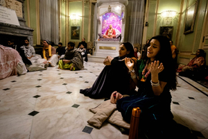 The devotional atmosphere during the festival pervades the entire atmosphere during Radhadesh Mellows