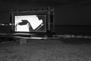 one of the nightly (weather permitting) beach screenings starting, 2013  © Alison McCauley