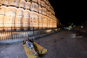 Homeless in front of the Hawa Mahal