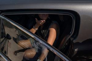 Nancy Coppola greets her fans after having performed at Lido La Favorita, Castel Volturno.