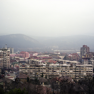 Mitrovica North, Kosovo. December 2014. A view of the centre of Kosovska Mitrovica.
