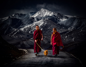Sacred way in snow mountains