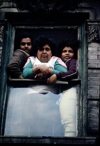 Family in window, 1988.