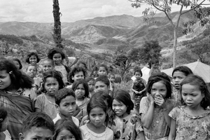 School kids outside a primary school, deep in the  mountains of west Flores, Indonesia, 1973