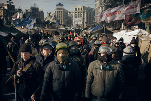 Protesters are waiting for a signal (Ukraine, Kiev, February, 2014)