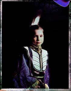 #3, German powwow dancer, Portrait taken at the local powwow convention, bleach Fuji Fp100c, negative scan, Kladno, Czech Rep. 2015