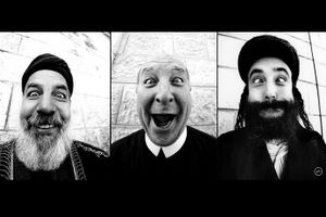 Three holy men of different religions in the Middle East, by JR, 2007. © jr