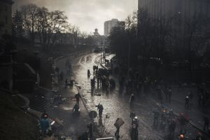 Сlashes between riot police and protesters during the attempting to block Verhovna Rada on Institutska street. In 20 minutes snipers opened fire. Kiev, Feb. 20, 2014