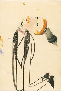 Erwin BlumenfeldKneeling man with tower1920Indian ink, ink, watercolor and collage on paper Collection Henry Blumenfeld © The Estate of Erwin Blumenfeld