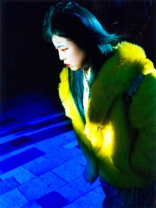 Girl in the street with blue memory