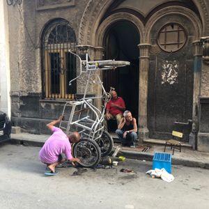 Fixing a Bicycle Taxi, Old Havana, Cuba
