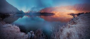 The frosted Moke Lake, Closeburn New Zealand