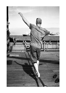 Slack line practice while sitting on anchor.