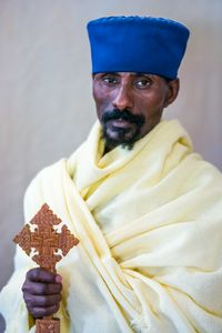 Priest, Uda Kidane Mehret monastery museum,  Zege peninsula in Lake Tana,  Ethiopia
