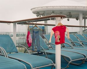 Kids clothing drying in the seas air