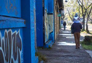 Blue walking