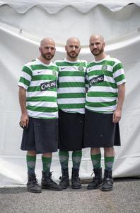 Twins Days 2015. Jonas, Noah and Moses Allooh (30). Fans of Celtic Football Club.