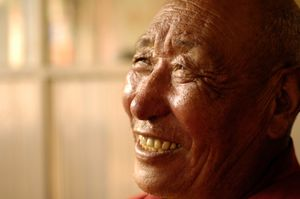 The number one monk of Mindroling Monastery near Dranang, Tibet was photographed on 1 July 2005. © Forest McMullin