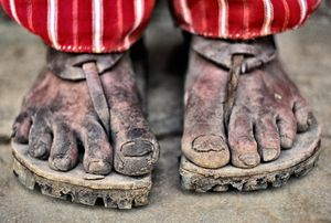 Mayan man's feet