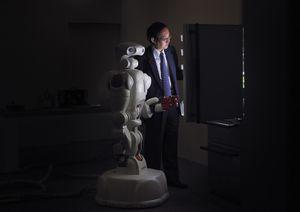 Twendy-One robot and Professor Shigeki Sugano, [Sugano Laboratory], Waseda University, Tokyo, Japan, 2010.