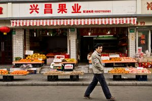 Walking by the Fruit Markets. Shanghai, China.